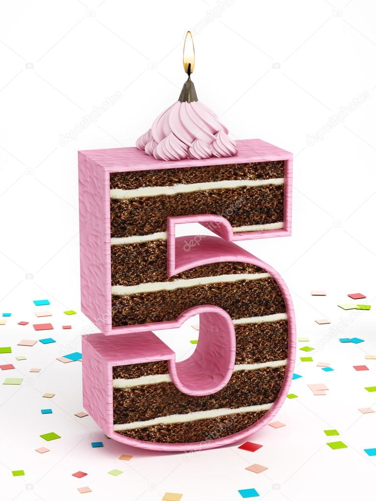 Number 5 Shaped Chocolate Birthday Cake With Lit Candle Stock