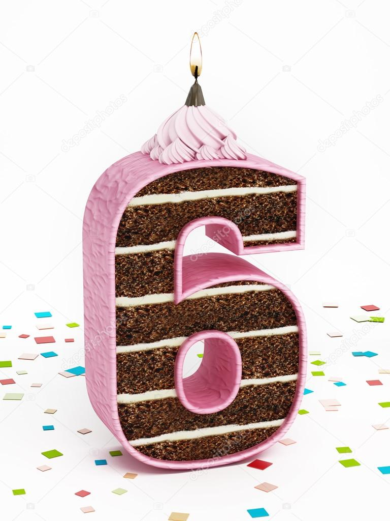 Number 6 Shaped Chocolate Birthday Cake With Lit Candle Stock