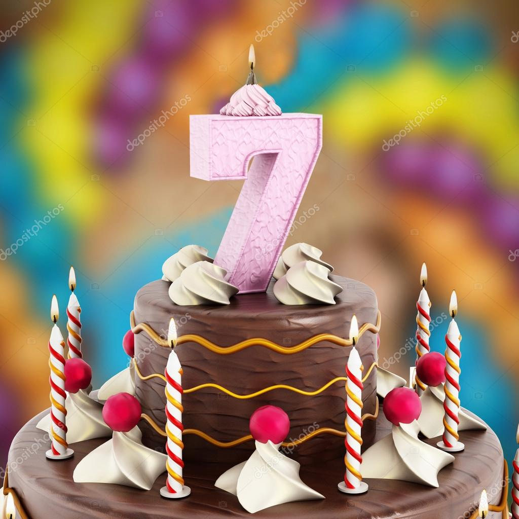 Excellent Birthday Cake With Number 7 Lit Candle Stock Photo Funny Birthday Cards Online Inifodamsfinfo