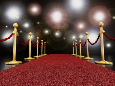 Red carpet at night with flashes concept stock vector
