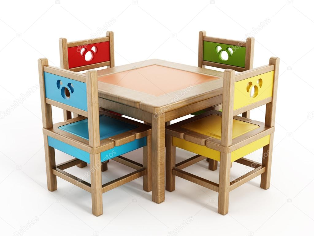 98e2e3d56061 Dětské stoly a židle izolovaných na bílém pozadí — Fotografie od ...