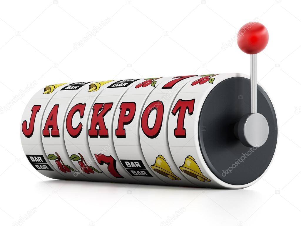 Slot machine showing jackpot word