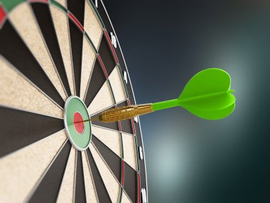 Green dart at the center of the target