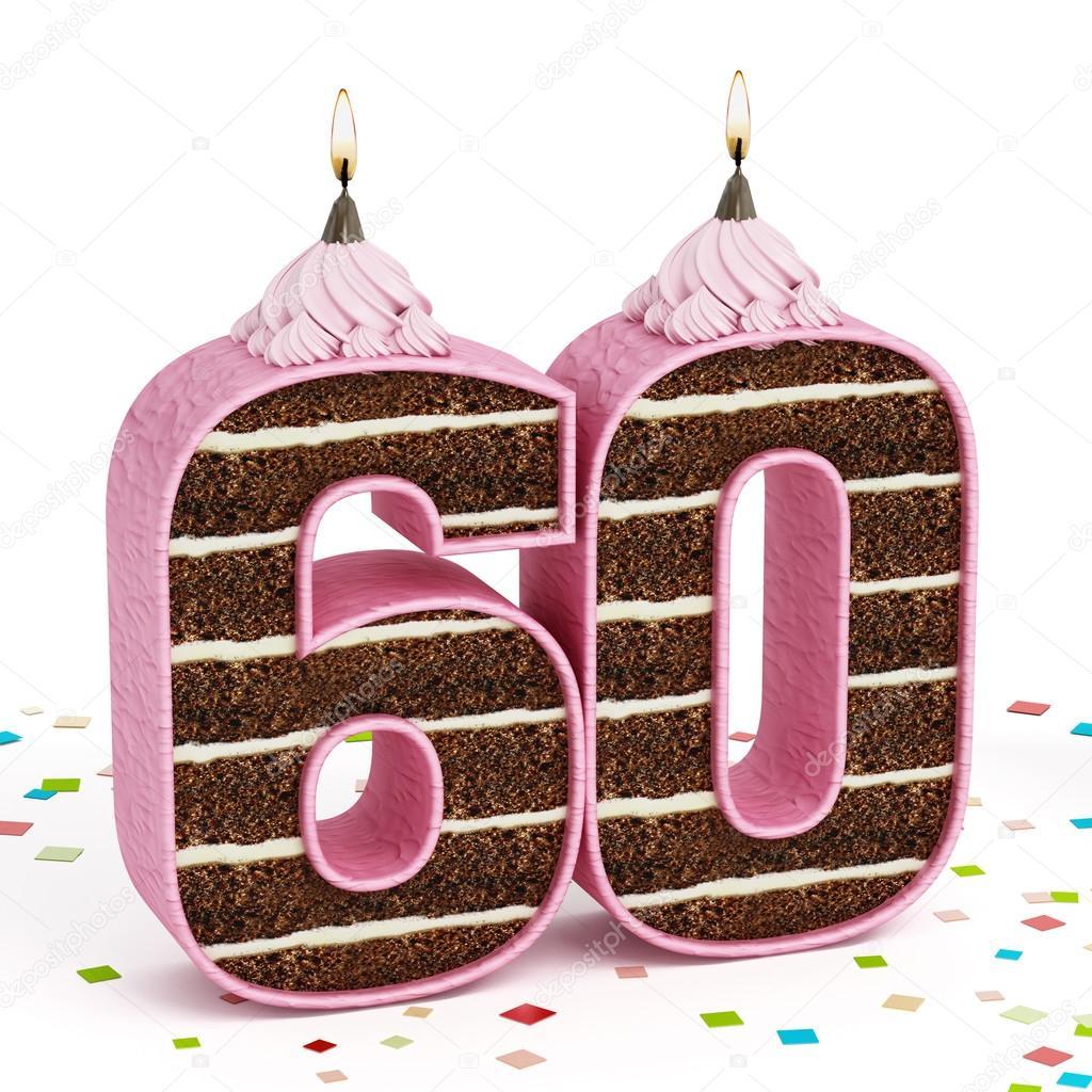 Top Nummer 60 gevormde chocolade verjaardagstaart met verlichte kaars  FY01