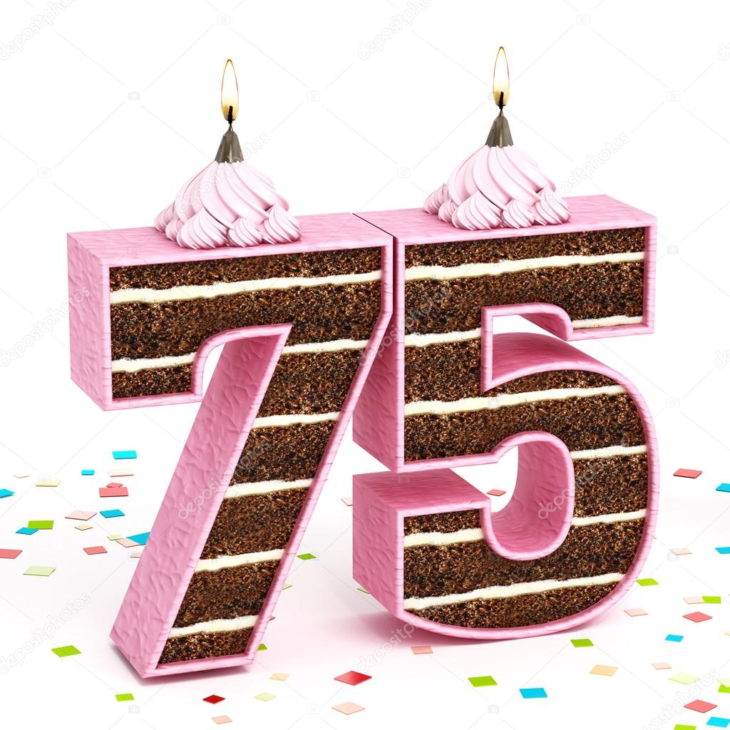 Number 75 Shaped Chocolate Birthday Cake With Lit Candle Stock