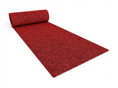Rolled up red carpet
