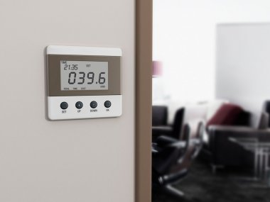 Wall mounted energy meter beside the room entrance