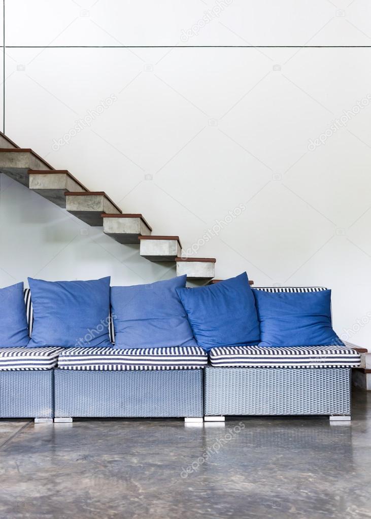 Innenraum Wohnzimmer Moderne Stil Mit Blauen Sofa Möbel U2014 Stockfoto