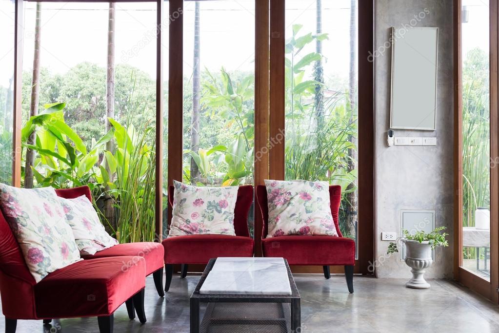 progettazione di interni soggiorno stile moderno con il sofà rosso ...