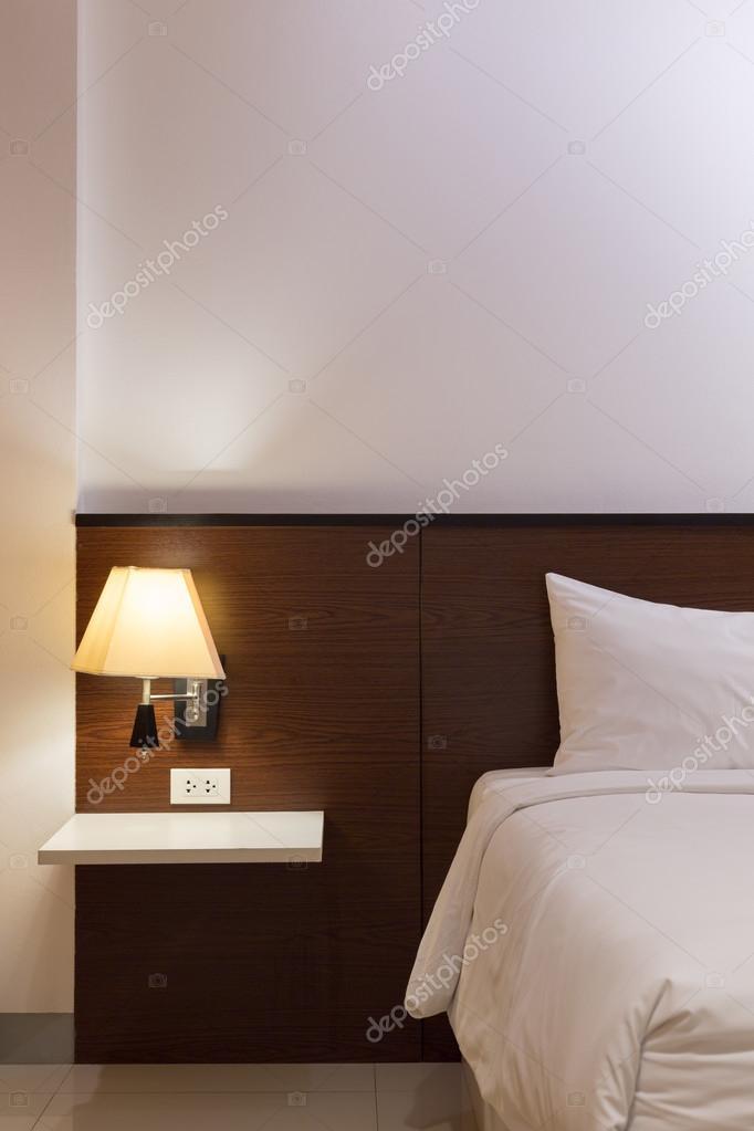 Schlafzimmer Mit Bett Und Lampe Dekoration U2014 Stockfoto
