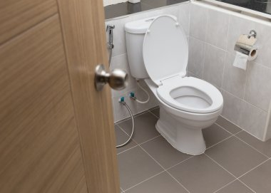 white flush toilet in modern bathroom interior