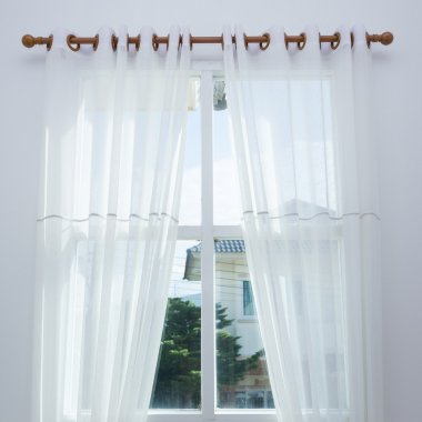 white curtain window in the modern house