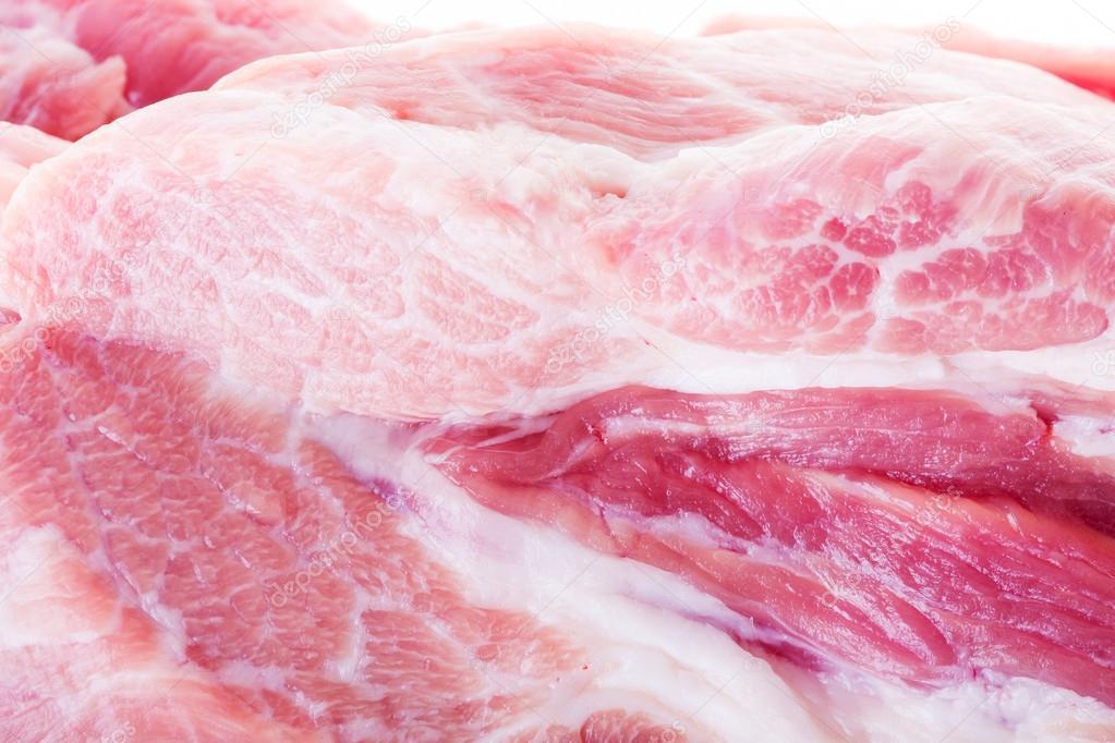 close up of raw pork