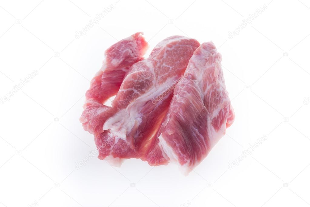 raw pork isolated on white background