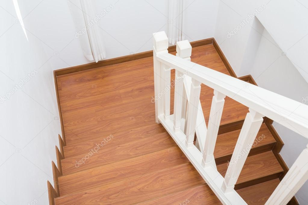Wooden Staircase Made From Laminate Wood In White Modern House U2014 Stock Photo