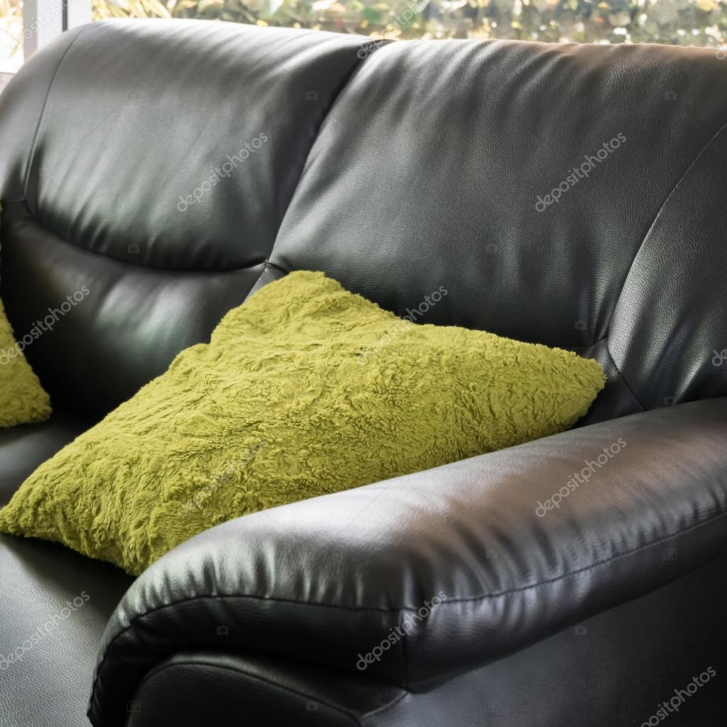 Peachy Black Leather Sofa Furniture With Green Pillow In Livingroom Gmtry Best Dining Table And Chair Ideas Images Gmtryco