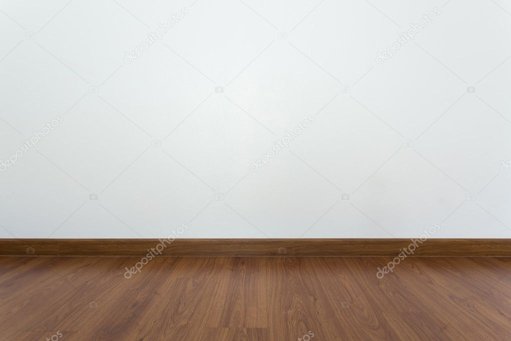 Attraktiv Leerer Raum Mit Braunen Holz Laminatboden Und Weißen Mörtel Wand U2014 Stockfoto