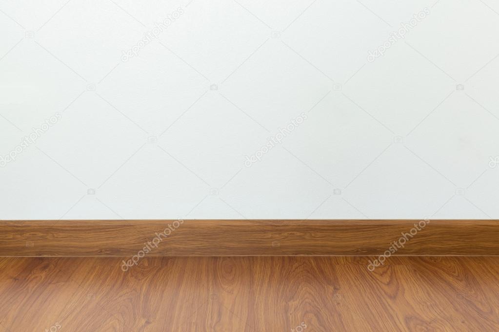 Schon Leerer Raum Mit Braunen Holz Laminatboden Und Weißen Mörtel Wand U2014 Stockfoto
