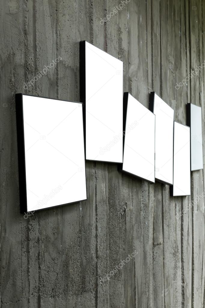 Blank Photo Frame Hanging On Cement Wall Stock Photo Sutichak