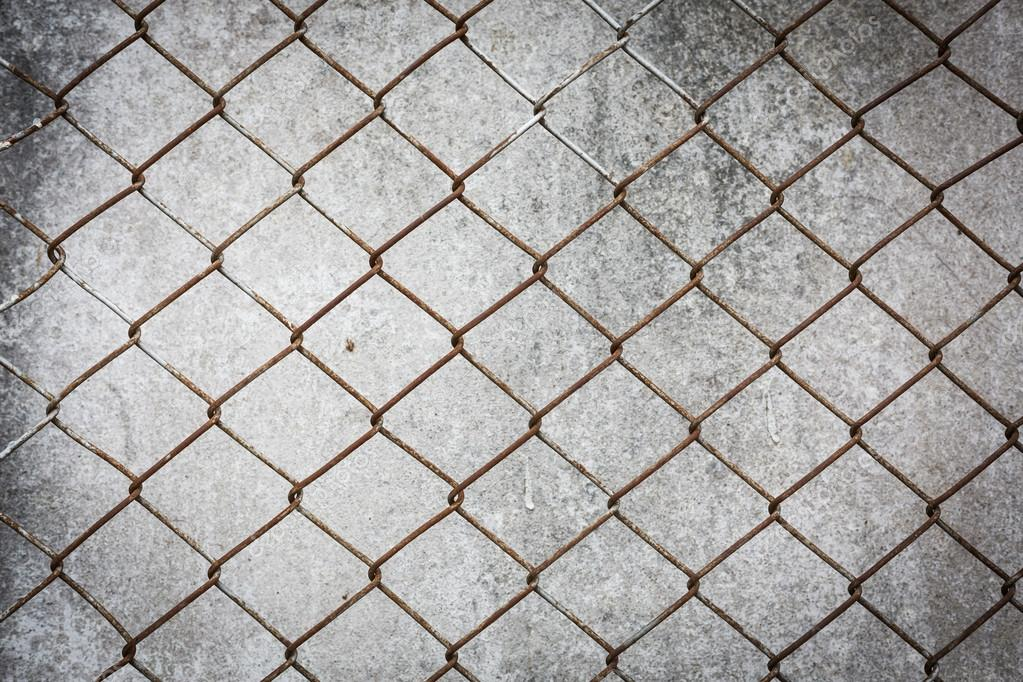 rusty wire fence with cement wall grunge background — Stock Photo ...