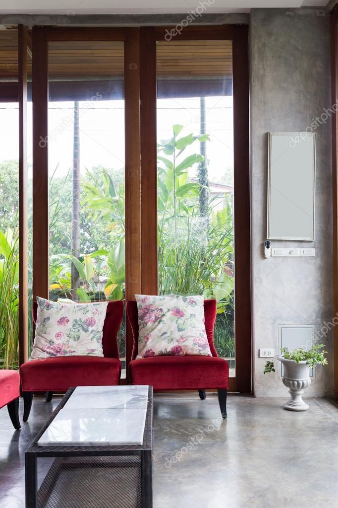 Design d\'intérieur salon de style moderne avec canapé rouge ...