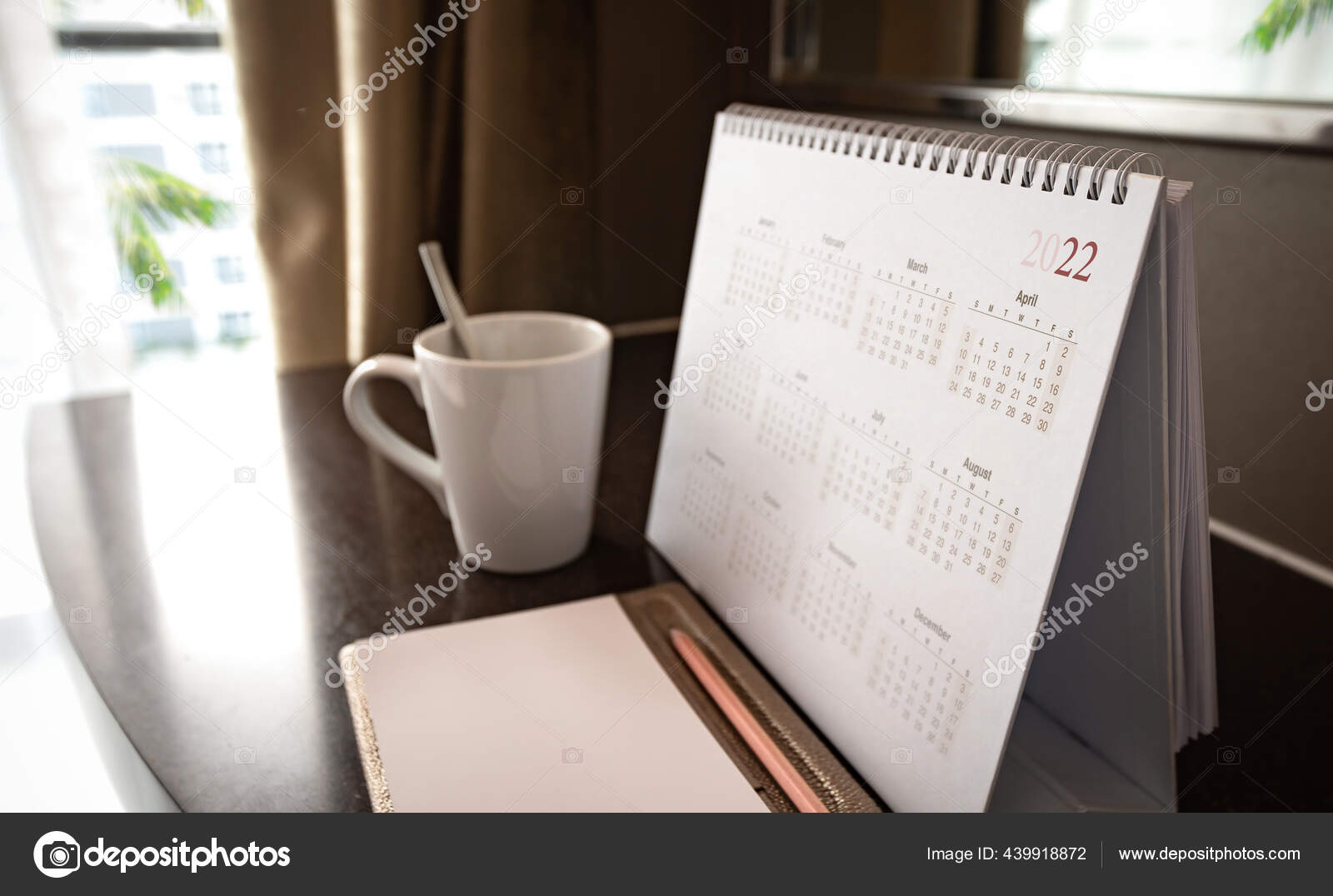 Desktop Calendar 2022 Coffee Cup Wooden Desk Private Office Stock Photo Image By C Choat 439918872
