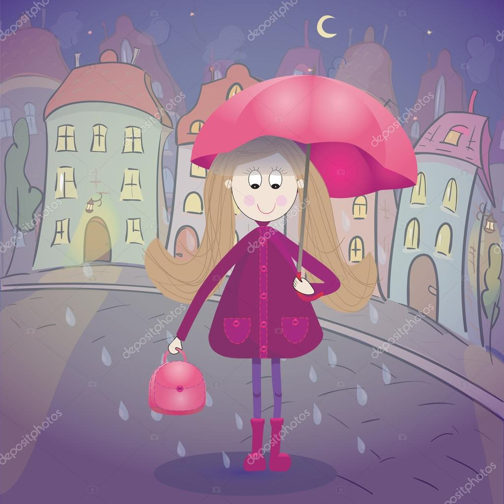Girl under the rain with umbrella raincoat and rubber boots. Night townscape  on background