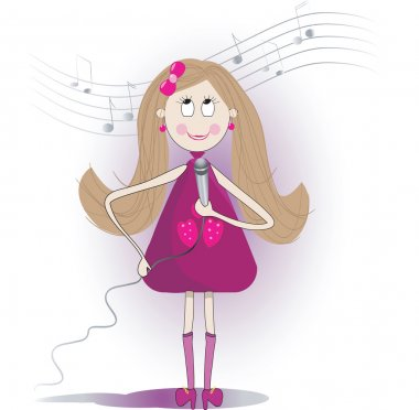 Illustration of cute girl sings a song with microphone.
