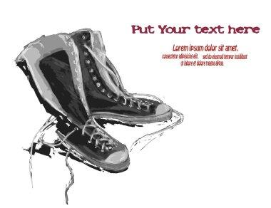 Illustration of gumshoes. Sneakers