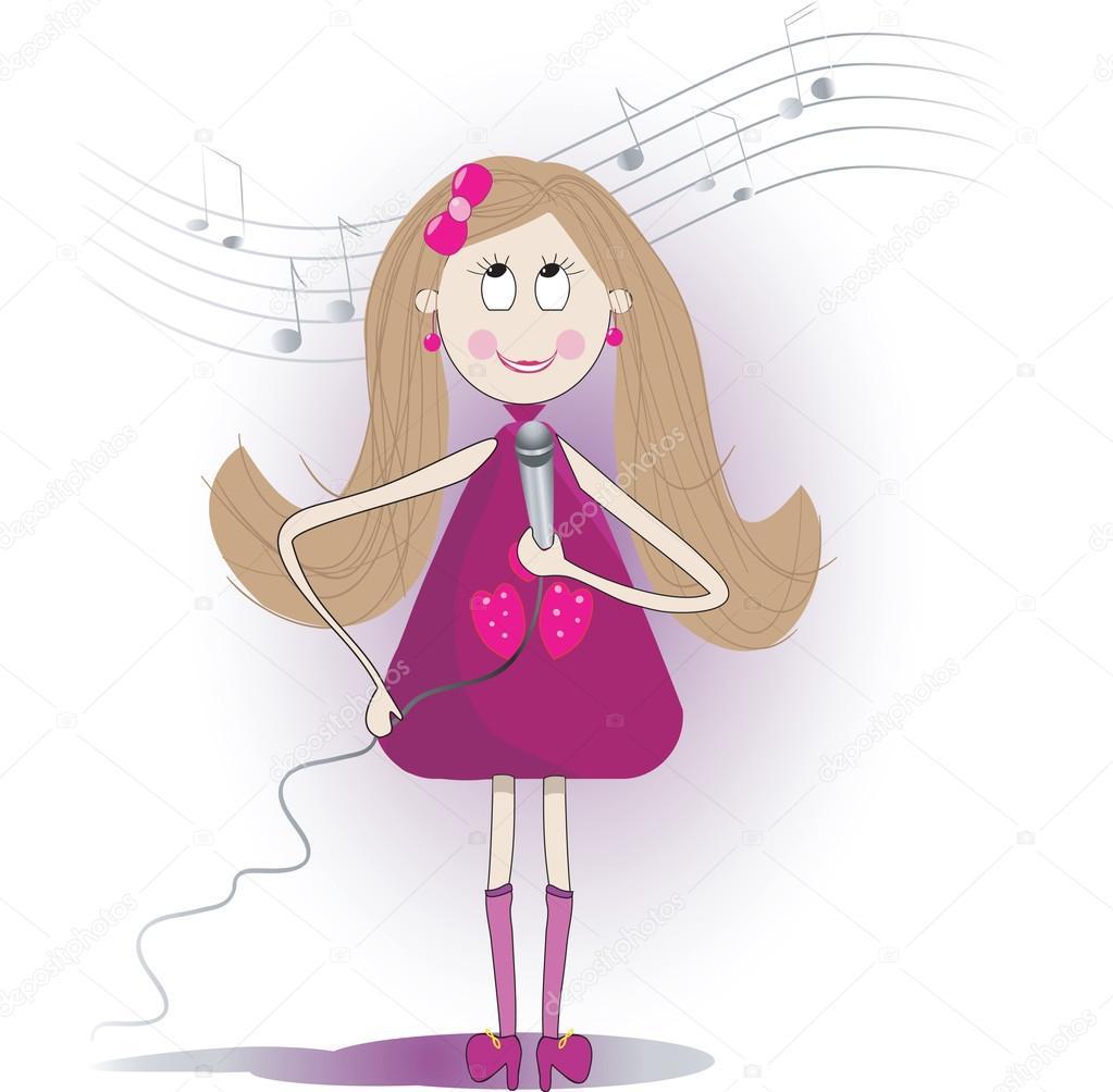 かわいい女の子のイラストはマイクで歌を歌う — ストックベクター