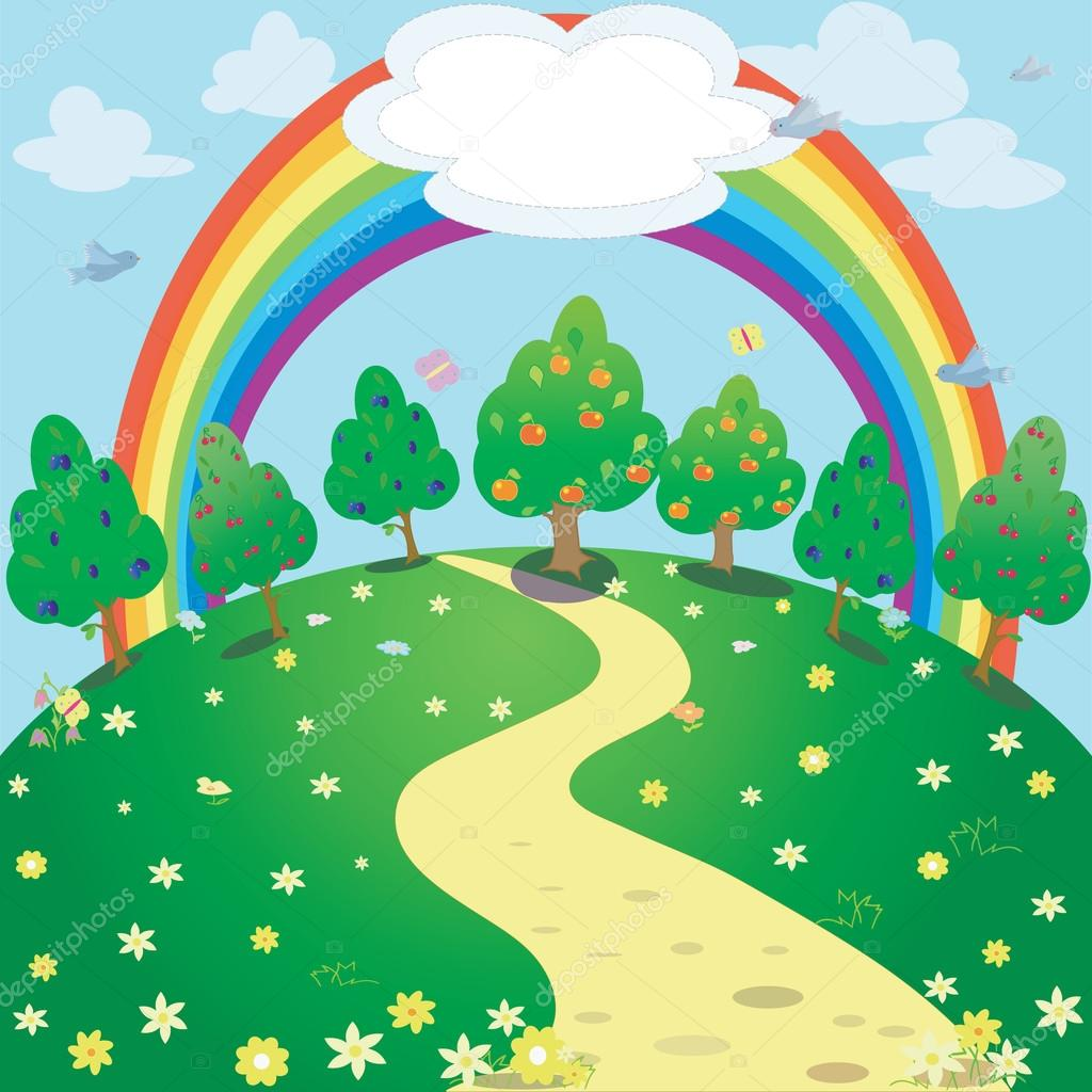 Background of rainbow and garden . Vector fantasy