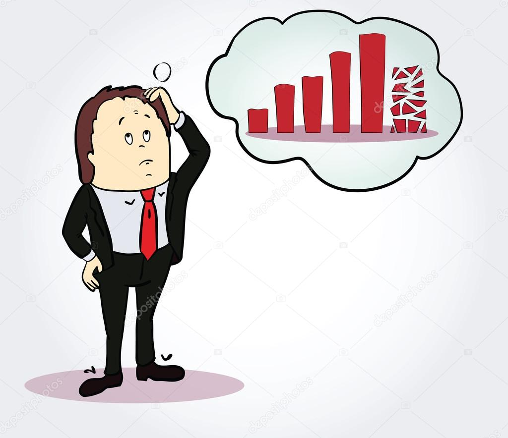 Businessman and diagram cartoon character person thinking about bubusinessman and diagram cartoon character person thinking about chart going down conceptsinessman and diagram cartoon character pooptronica Image collections