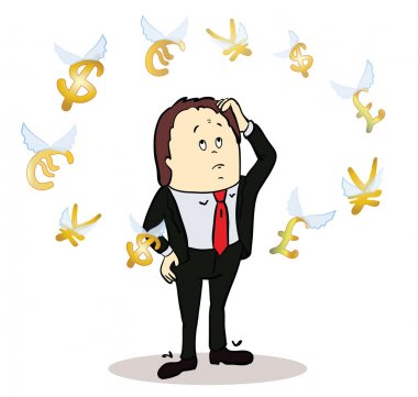 business man standing, watching for flying currency icons. White background. Banking, exchange rate concept, economy. Illustration of thinking trader.