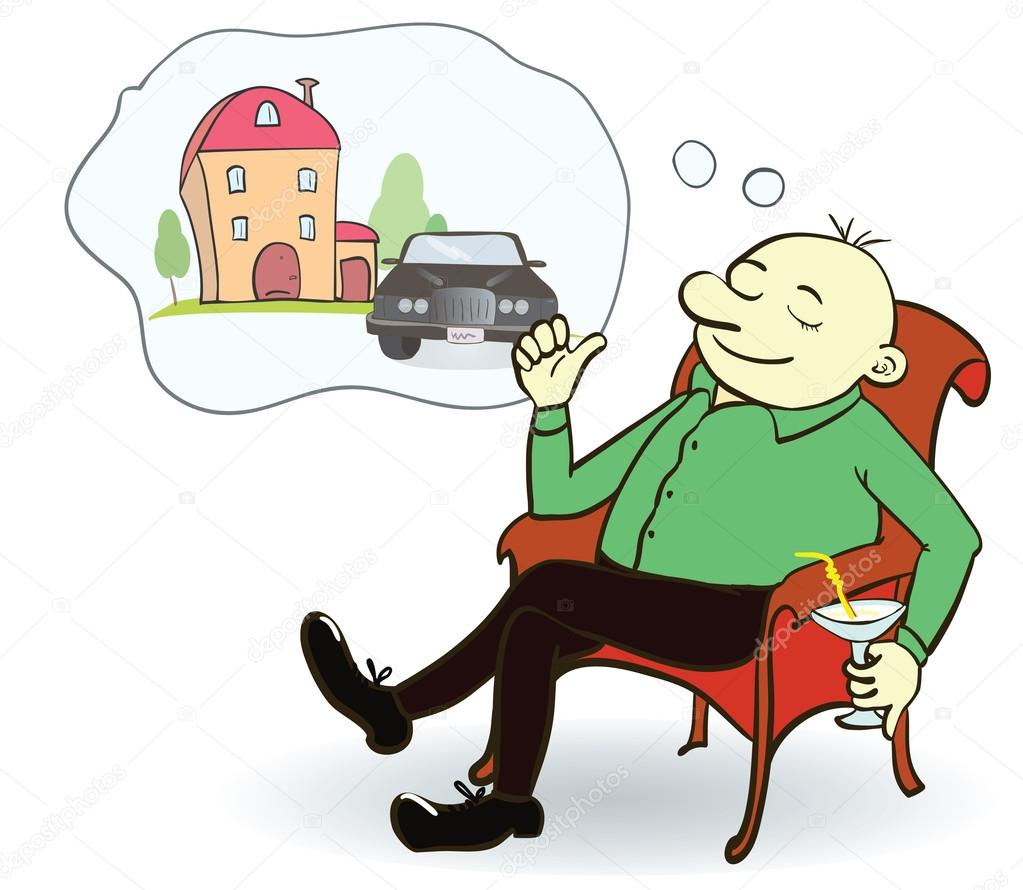 Man Dreaming House And Car Concept For Credit Or Mortgage Stock Vector