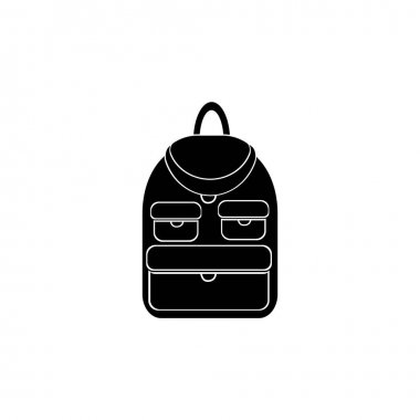 School bag silhouette, school bag and learning icon illustration icon