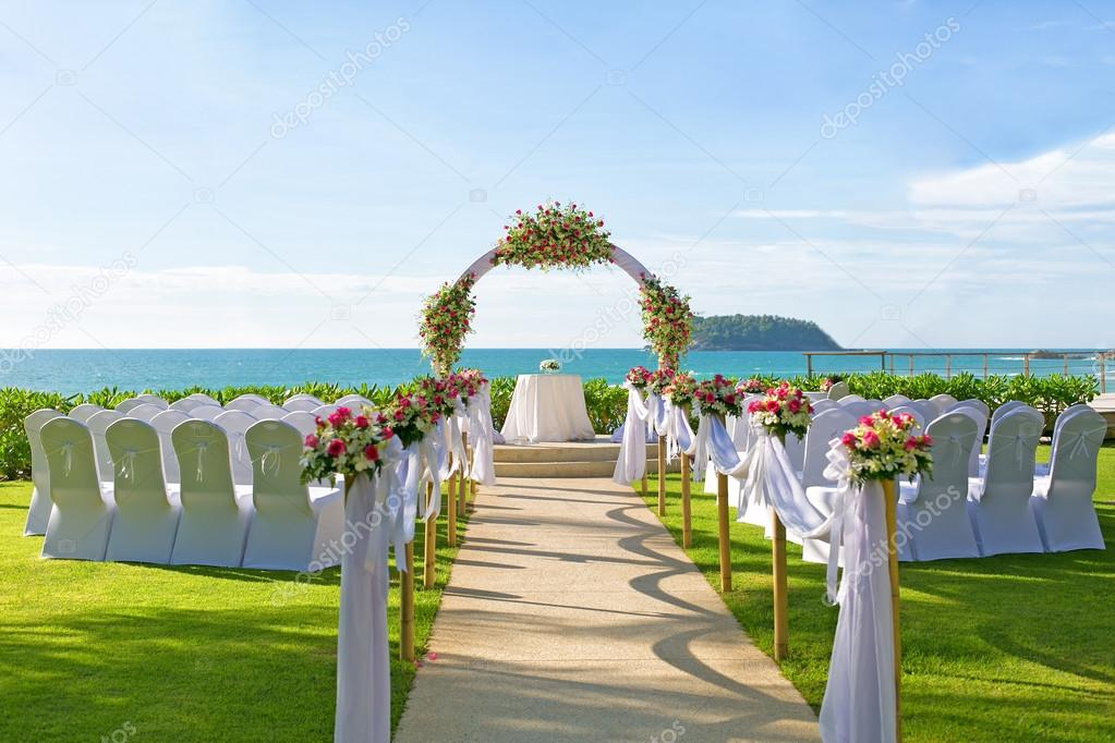 Wedding Setup Detail In Garden Stock Photo C Panuphon
