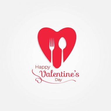 Restaurant heart fork spoon happy valentines day icon