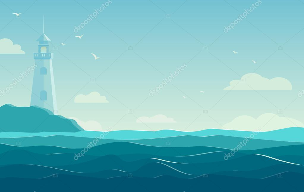Blue sea background with waves and lighthouse. Vector Illustration– stock illustration