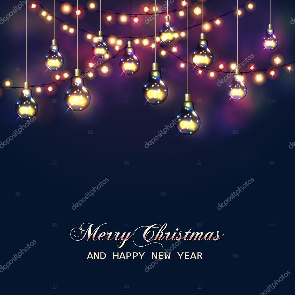 Kerstkaart met feestelijke garland verlichting en lampen for Lampen en verlichting