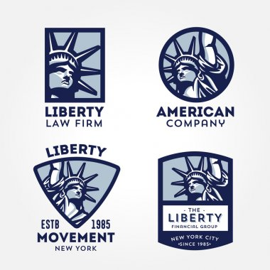 Set of Attractive and Memorable, Solid And Bold Liberty Statue Badges. Conveys such values as Liberty Freedom Justice Truth Equity Pride Honor Patriotism Fairness Dreams Aspirations Ambitions. clip art vector