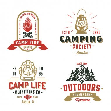 Set of Retro Camping Outdoor Badges