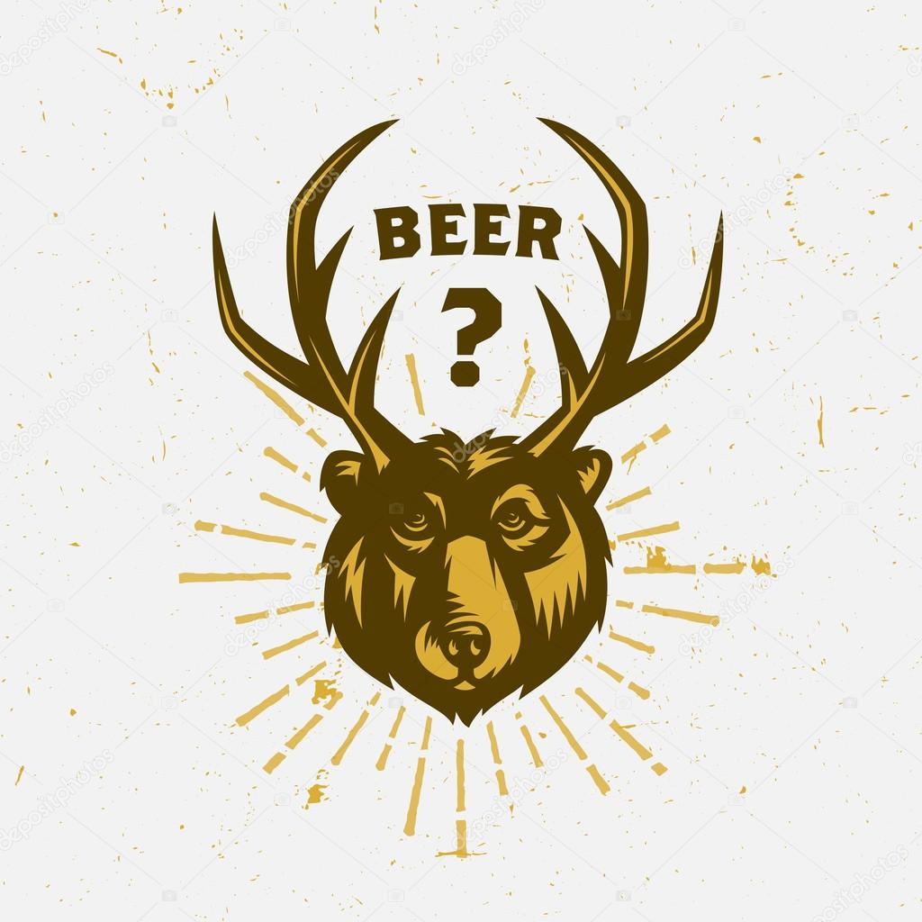 03cade94a Funny vintage t-shirt apparel fashion print design 'Beer' Amusing retro tee  graphics. Vector Illustration of Bear with antlers. Gift souvenir idea.
