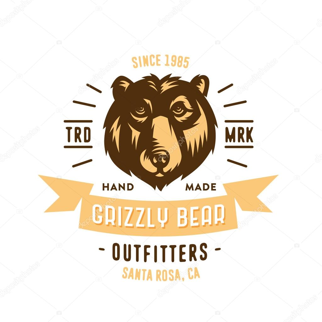 Grizzly Bear Outfitters T Shirt Badge Stock Vector Tortugastudio
