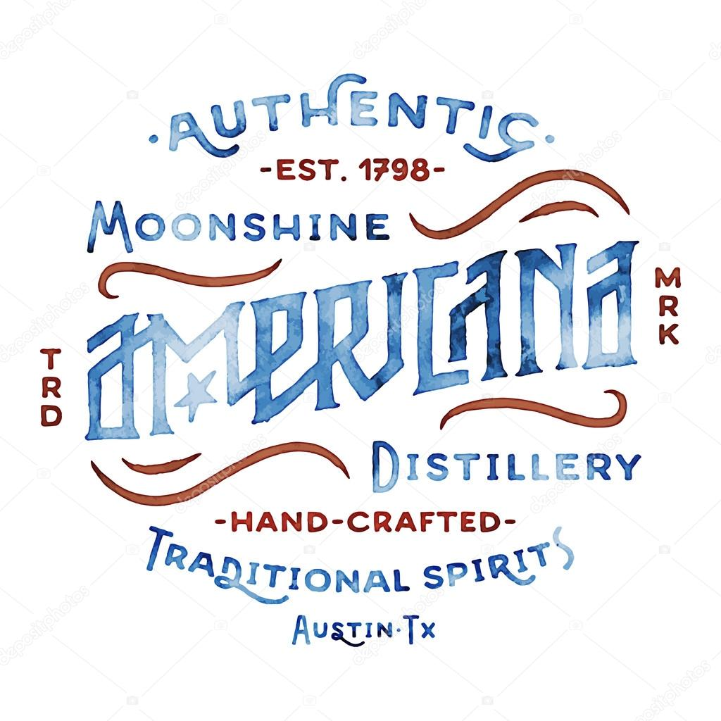 Americana Moonshine Distillery Retro Hand Lettered Design Vintage Style Drawn Custom Type Old School Flavor Great As Logo For T Shirt
