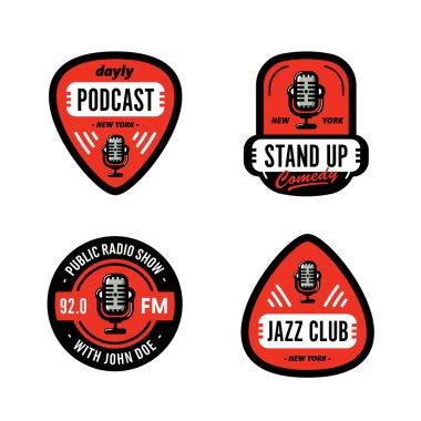 Set of Broadcasting Badge Designs