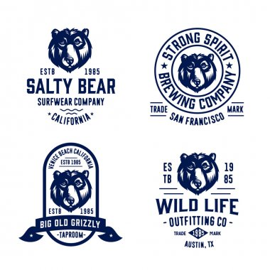 Set of bear badges for various businesses