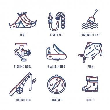 Set of icons about fishing