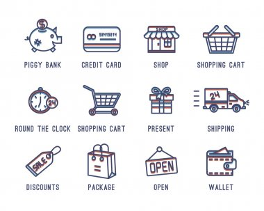 Set of icons on a theme shopping