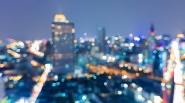 Night view blurred light bokeh, city downtown