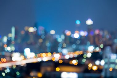 Night blurred bokeh lights city downtown